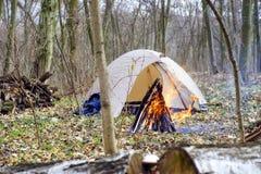 W wiosna lesie namiot z ogieniem a Obraz Stock