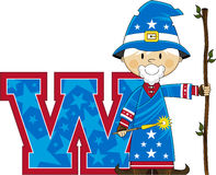W is for Wizard. Cute Cartoon Magical Wizard Character - W is for Wizard Alphabet Learning Illustration. An EPS file also available vector illustration