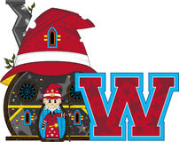 W is for Wizard. Cute Cartoon Magical Wizard Character - W is for Wizard Alphabet Learning Illustration. An EPS file also available stock illustration