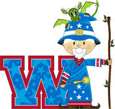 W is for Wizard. Cute Cartoon Magical Wizard Character - W is for Wizard Alphabet Learning Illustration. An EPS file also available royalty free illustration