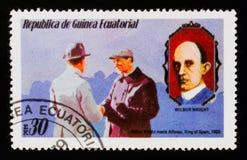 W Wright встречает Альфонс, короля Испании 1909 и w Портреты Wright, около 1979 стоковые изображения rf