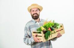W wsi m??czyzny szef kuchni z bogat? jesieni upraw? sezonowy witaminy jedzenie Po?ytecznie owoc i warzywo Organicznie i obraz stock