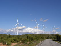W wsi wiatrowy gospodarstwo rolne Zdjęcie Stock