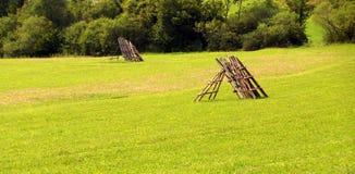 W wsi zielona łąka Fotografia Royalty Free