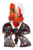 W wysokim szkle świeża truskawka Fotografia Royalty Free
