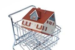 W wózek na zakupy ścierwo dom Zdjęcie Stock