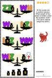 与标度、重量和信件的视觉算术难题我, W, Z 库存图片