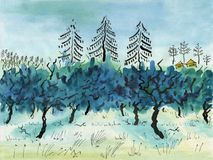 W zima jabłczany sad ilustracji