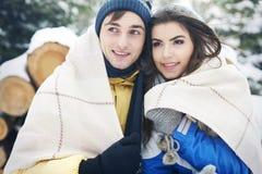 W zima kochająca para Fotografia Stock