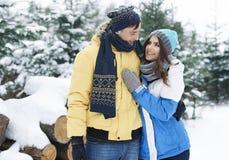 W zima kochająca para Fotografia Royalty Free