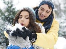 W zima kochająca para Zdjęcie Stock