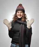 W zima piękna kobieta odziewa obrazy royalty free