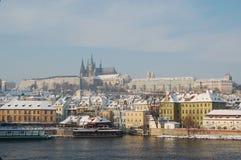 W zima Praga Kasztel Obraz Royalty Free