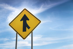 W4-1 Right Merge Sign. Merge road sign as symbol of cooperation Royalty Free Stock Images
