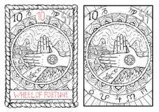 Ważna arcana tarot karta Koło Pomyślność royalty ilustracja