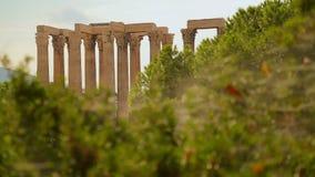 Ważna atrakcja turystyczna w Ateny, Olimpijska Zeus świątynia, archeologii ekskawacja zbiory wideo