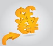 Ważne waluty, pieniężne Obraz Royalty Free