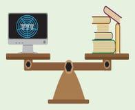 Waży z książkami i komputerem z internetem royalty ilustracja
