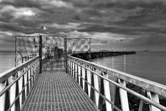 WA Esperance Bend Jetty Front BW Stock Photo