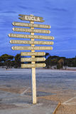 WA Eucla Distances Pole Royalty Free Stock Photography