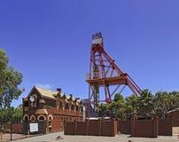 WA Kalgoorlie Museum facade. Historic building and industrial mining machinery tower in Kalgoorlie boulder regional tower of Western Australia. Mining boom town Stock Image