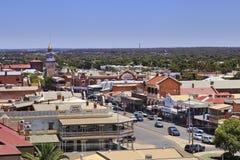 WA Kalgoorlie Tower Aerial. KALGOORLIE, AUSTRALIA -JAN 14: Areial view of the main avenue of the city of Kalgoorlie in Western Australia, 14/01/2016 Royalty Free Stock Photo