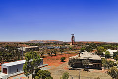 WA Kalgoorlie Town 2 Pit. Aerial view of Kalgoorlie Boulders town in Western Australia - mining settlement to dig gold ore from the biggest open pit mine in Royalty Free Stock Photos