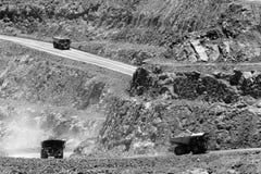 WA Super pit trucks dust wall Royalty Free Stock Photography