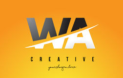 WA W A Letter Modern Logo Design with Yellow Background and Swoo. WA W A Letter Modern Logo Design with Swoosh Cutting the Middle Letters and Yellow Background Stock Images