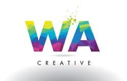 WA W un vecteur coloré de conception de triangles d'origami de lettre illustration stock