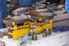 Waży przy rybim rynkiem Fotografia Royalty Free
