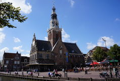 Waag building and market square in Alkmaar, the Netherlands Stock Images