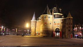 The Waag (weigh house) in Nieuwmarkt square, Amsterdam, The Netherlands stock video footage