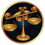 Waage, goldenes Sternzeichen, Vektorhoroskopsymbol lizenzfreie abbildung