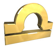 Waageastrologiesymbol im Gold (3d) Stockbild