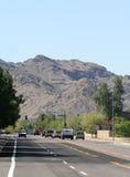 Waagerecht ausgerichteter Mountain View der Straße Stockfoto