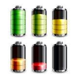 Waagerecht ausgerichteter Symbolsatz der Batterie lokalisiert auf Weiß Lizenzfreie Stockfotografie