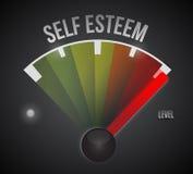 Waagerecht ausgerichtetes Maßmeter der Selbstachtung von Tief zu Hoch lizenzfreie abbildung