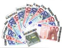 Waaier van 10/20 euro Stock Foto