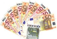 Waaier van Europese bankbiljetten Stock Afbeelding