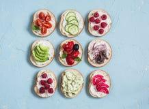 Waaier van sandwiches - de sandwiches met kaas, tomaten, ansjovissen, roosterden peper, frambozen, avocado, boonpastei, komkommer royalty-vrije stock afbeeldingen