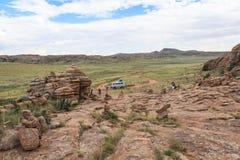 Waaier van steenbergen in zuidelijk van Mongolië stock afbeeldingen