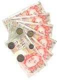 Waaier van vijftig ponden en muntstukken Royalty-vrije Stock Fotografie