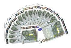 Waaier vijf euro Royalty-vrije Stock Foto's