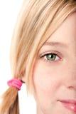 Waakzaam oog - half gezicht Stock Afbeeldingen