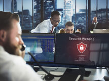 Waakzaam Waarschuwing Beveiligd de Websiteconcept van de waarschuwingsveiligheid royalty-vrije stock fotografie