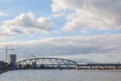Waal bridge with blue sky and cloud Royalty Free Stock Photos