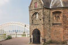 Waalbrug en Sint Nicolaas Church in the Valkhof in Nijmegen Stock Photos