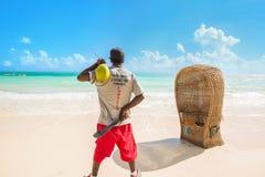 Waar er een kokospalm is zijn er met lange levensuur stock foto