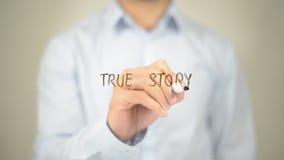 Waar Verhaal, Mens die op het Transparante Scherm schrijven Stock Afbeeldingen